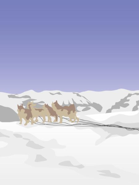 grønland landskabs tegning vinter udsigt med hundeslæde