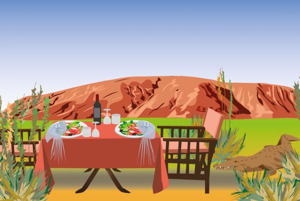 """Illustration af middag i det fri """"Down under"""""""